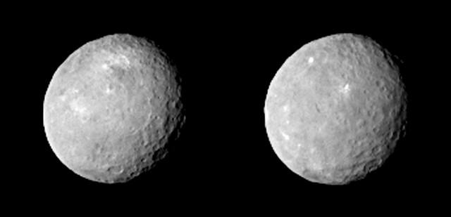 Due viste del pianeta nano Cerere ottenute dalla sonda spaziale Dawn (Immagine NASA/JPL-Caltech/UCLA/MPS/DLR/IDA)