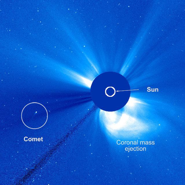 Immagine della sonda spaziale SOHO del 20 febbraio 2015 che mostra la cometa C/2015 D1 (SOHO) (Immagine ESA/NASA/SOHO/Hill)