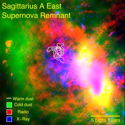 I dati del telescopio volante SOFIA mostrano polvere sopravvissuta nei resti della supernova Sagittarius A Est (Immagine NASA/CXO/Herschel/VLA/Lau et al)