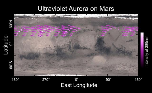 Mappa dell'aurora rilevata dalla sonda spaziale MAVEN nel dicembre 2014 sovrapposta a una mappa della superficie di Marte (Immagine University of Colorado)