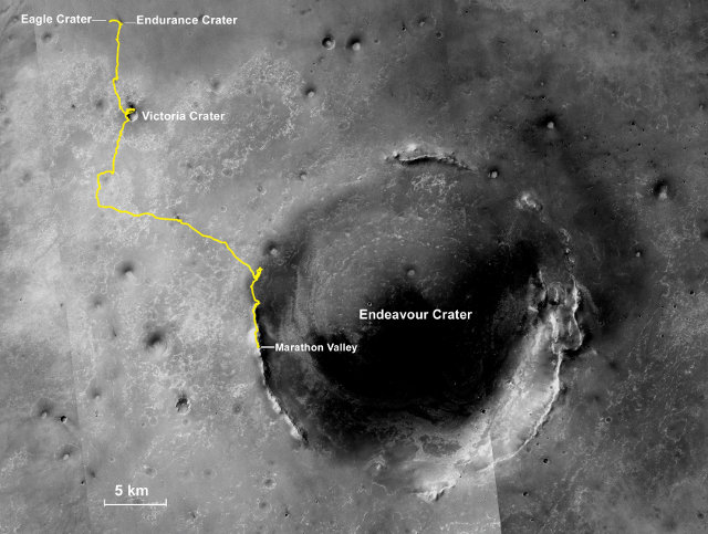 Mappa del percorso del Mars Rover Opportunity (Immagine NASA/JPL-Caltech/MSSS/NMMNHS)