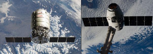 La navicella spaziale Cygnus di Orbital ATK durante la missione ORB-1 e la navicella spaziale Dragon di SpaceX durante la missione CRS-5 (Foto NASA)
