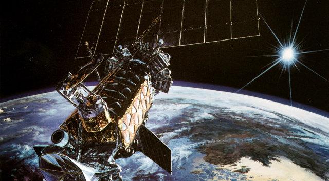 Concetto artistico di un satellite della costellazione DMSP in orbita (Immagine aeronautica militare americana)