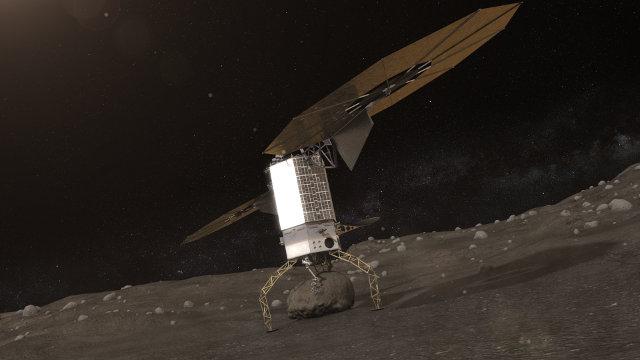 Concetto artistico di navicella spaziale che preleva un masso da un asteroide (Immagine NASA)