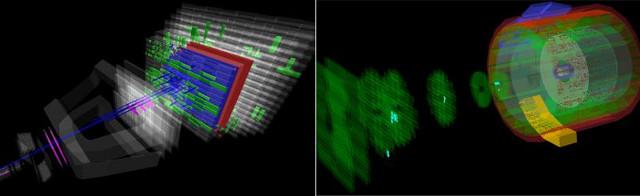 Gli eventi splash registrati dagli esperimenti LHCb e ALICE nel test del Large Hadron Collider (Immagine cortesia CERN. Tutti i diritti riservati)