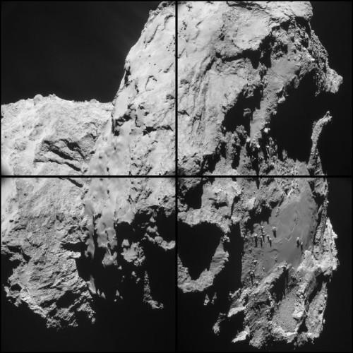 Montatto gi quattro immagini della cometa 67P/Churyumov–Gerasimenko scattate dalla sonda spaziale Rosetta da una distanza media di circa 20 chilometri (Immagine ESA/Rosetta/NAVCAM)