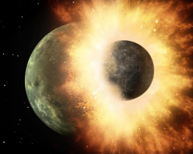 Rappresentazione artistica dell'impatto di Theia con la Terra primordiale (Immagine NASA/JPL-Caltech)