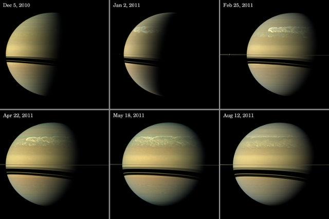 Immagini della grande tempesta su Saturno scattate dalla sonda spaziale Cassini (Immagine NASA/JPL-Caltech/SSI)