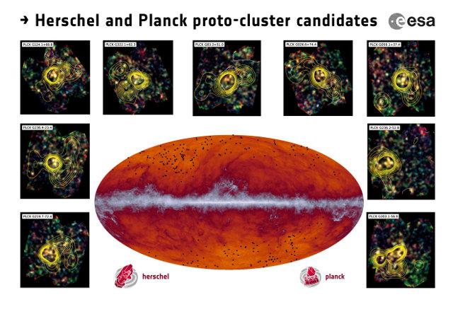 Mappa creata dal Planck Surveyor a lunghezze d'onda submillimetriche con i candidati protoammassi indicati come punti neri. Nei riquadri alcune osservazioni effettuate con lo strumento SPIRE del telescopio spaziale Herschel (Immagine ESA and the Planck Collaboration/ H. Dole, D. Guéry & G. Hurier, IAS/University Paris-Sud/CNRS/CNES)