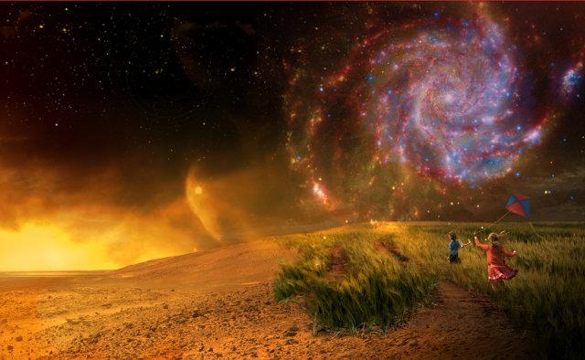 Concetto artistico della ricerca di vita aliena basata su studi della Terra (in basso a destra), della diversità dei pianeti del sistema solare (a sinistra) e nella nuova frontiera su esopianeti lontani (in alto a destra) (Immagine NASA)
