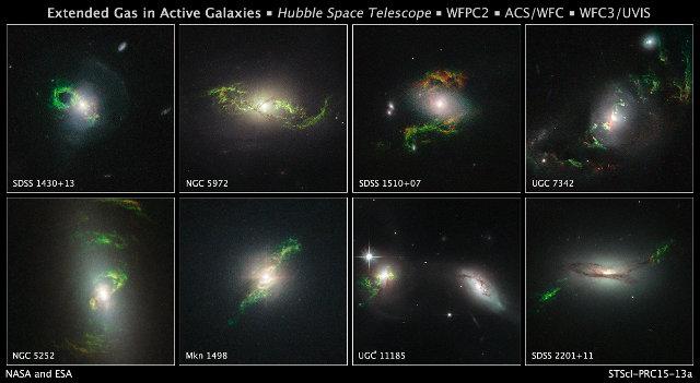 Immagini di otto galassie contenenti filamenti verdi rimasti come effetto di antichi quasar (Immagine NASA, ESA, and W. Keel (University of Alabama, Tuscaloosa))