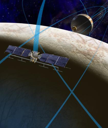 Concetto artistico della sonda spaziale che studierà Europa e della sua traiettoria nel sistema di Giove (Immagine NASA/JPL-Caltech)
