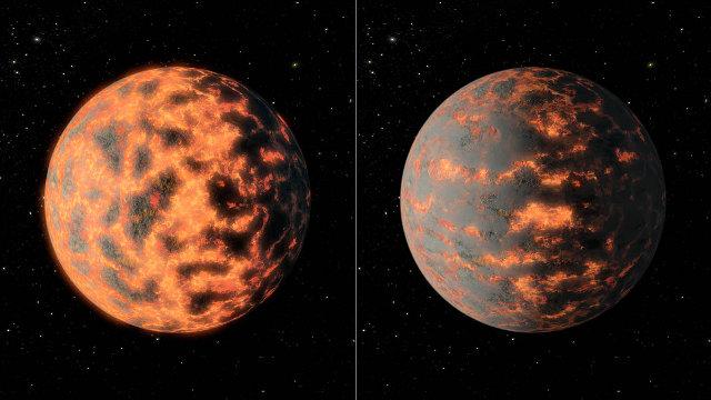 Concetto artistico dell'esopianeta 55 Cancri e che mostra come la superficie sia parzialmente fusa prima e dopo l'attività vulcanica (Immagine NASA/JPL-Caltech/R. Hurt)