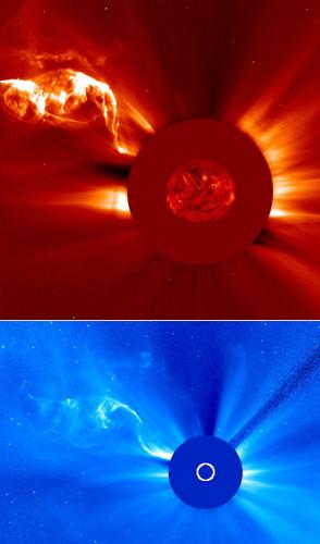 Immagini del filamento solare del 28-29 aprile 2015 catturate dai coronografi della sonda spaziale SOHO (Immagine ESA/NASA/SOHO)