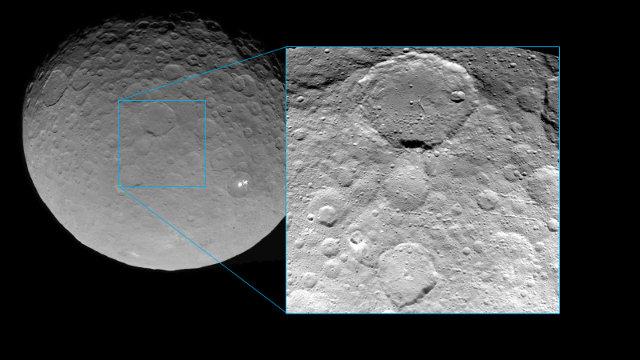 Immagine del pianeta nano Cerere e una di un'area della sua superficie nei dettagli (Immagine NASA/JPL-Caltech/UCLA/MPS/DLR/IDA)