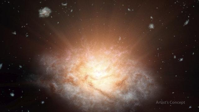 Concetto artistico della galassia WISE J224607.57-052635.0 (Immagine NASA/JPL-Caltech)