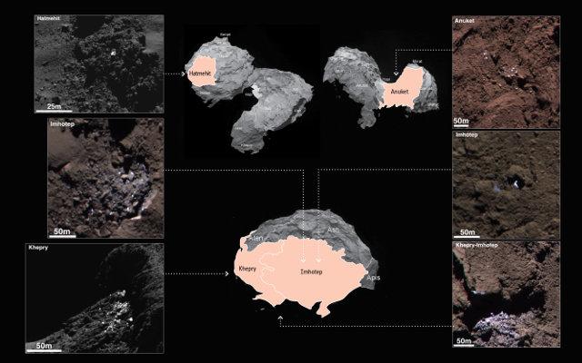 Sei delle aree ghiacciate sulla superficie della cometa 67P/Churyumov-Gerasimenko individuate dalla sonda spaziale Rosetta (Immagine ESA/Rosetta/MPS for OSIRIS Team MPS/UPD/LAM/IAA/SSO/INTA/UPM/DASP/IDA)