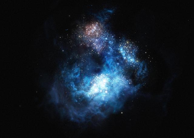 Rappresentazione artistica della galassia CR7 (Immagine ESO/M. Kornmesser)