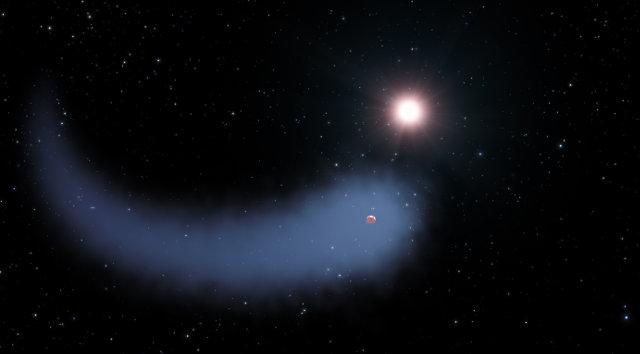 Concetto artistico del pianeta GJ 436b avvolto nella sua immensa coda mentre orbita attorno alla stella GJ 436 (Immagine NASA, ESA, and G. Bacon (STScI))