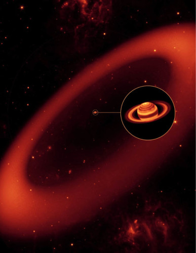 Concetto artistico dell'anello di Febe con Saturno e gli altri anelli nel mezzo (Immagine NASA/JPL/Space Science Institute)
