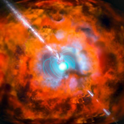 Concetto artistico di una supernova con un lampo gamma di lunga durata e una magnetar (Immagine ESO)