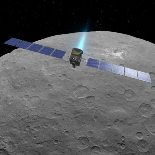 Rappresentazione artistica della sonda spaziale Dawn sopra il pianeta nano Cerere (Immagine NASA/JPL-Caltech/UCLA/MPS/DLR/IDA)