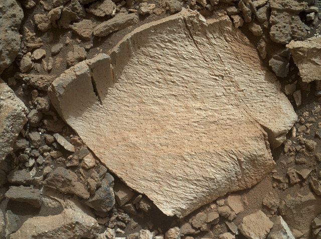 Il frammento di roccia ricca di silice chiamato Lamoose, della lunghezza di circa 10 cm, analizzato dal Mars Rover Curiosity (Foto NASA/JPL-Caltech/MSSS)
