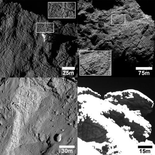 Alcuni esempi di fratture individuate sulla superficie della cometa 67P/Churyumov-Gerasimenko (Immagine ESA/Rosetta/MPS for OSIRIS Team MPS/UPD/LAM/IAA/SSO/INTA/UPM/DASP/IDA)