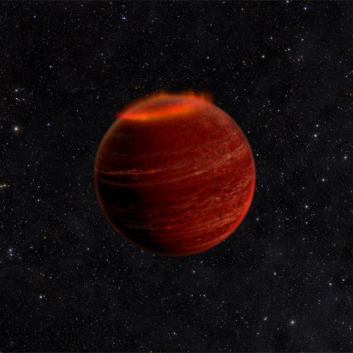 Concetto artistico di un'aurora al polo nord di una nana bruna (Immagine Chuck Carter and Gregg Hallinan/Caltech)