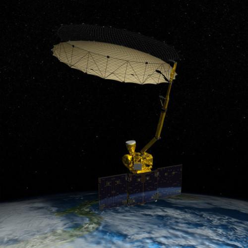 Concetto artistico del satellite SMAP della NASA col suo enorme riflettore rotante (Immagine NASA)