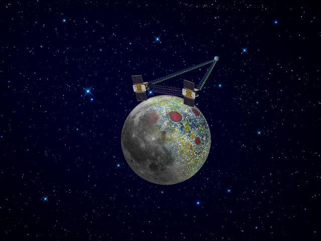 Concetto artistico delle sonde spaziali GRAIL al lavoro nell'orbita lunare (Immagine NASA/JPL-Caltech)