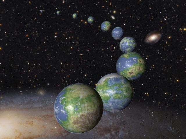 Concetto artistico degli innumerevoli pianeti come la Terra che devono ancora nascere (Immagine NASA, ESA, and G. Bacon (STScI))