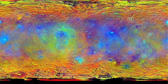 Proiezione topografica della superficie di Cerere (Immagine NASA/JPL-Caltech/UCLA/MPS/DLR/IDA)