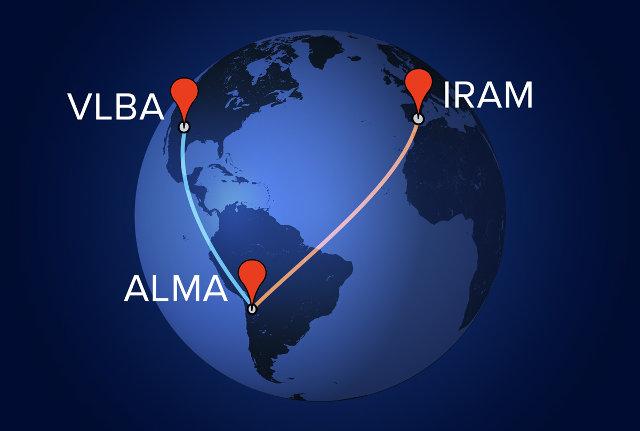 Schema della combinazione di ALMA con i radiotelescopi IRAM e VLBA (Immagine A. Angelich (NRAO/AUI/NSF))