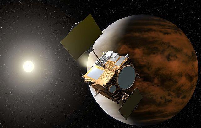 Concetto artistico della sonda spaziale Akatsuki nell'orbita di Venere (Immagine cortesia JAXA. Tutti i diritti riservati)