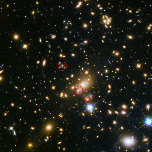 Immagine che mostra le apparizione della supernova SN Refsdal. Nel cerchio in alto una possibile apparizione nel 1998, in quello centrale l'apparizione del 2014 e in quello in basso l'apparizione del 2015 (Immagine NASA, ESA, S. Rodney (John Hopkins University, USA) and the FrontierSN team; T. Treu (University of California Los Angeles, USA), P. Kelly (University of California Berkeley, USA) and the GLASS team; J. Lotz (STScI) and the Frontier Fields team; M. Postman (STScI) and the CLASH team; and Z. Levay (STScI))
