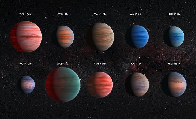 Rappresentazione artistica dei dieci esopianeti gioviani caldi osservati in questo studio (Immagine NASA, ESA, and D. Sing (University of Exeter))
