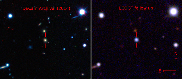 La galassia che ospita ASASSN-15lh prima (a sinistra nella ripresa della Dark Energy Camera) e dopo la sua esplosione (a destra, ripresa dal Las Cumbres Observatory Global Telescope Network) (Immagine cortesia (Credit: The Dark Energy Survey, B. Shappee and the ASAS-SN team))