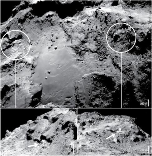 Fotografie della regione chiamata Imhotep sulla 67P/Churyumov-Gerasimenko dove è stato rilevato ghiaccio d'acqua in superficie (Immagine ESA/Rosetta/NavCam – CC BY-SA IGO 3.0)