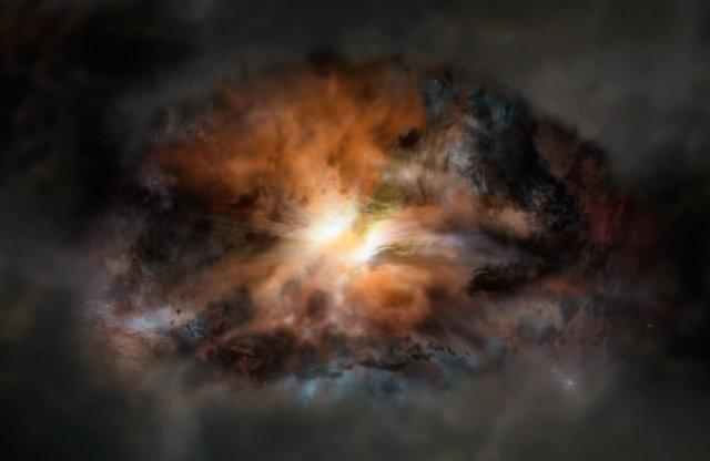 Rappresentazione artistica della galassia quasar W2246-0526 (Image NRAO/AUI/NSF; Dana Berry / SkyWorks; ALMA (ESO/NAOJ/NRAO))