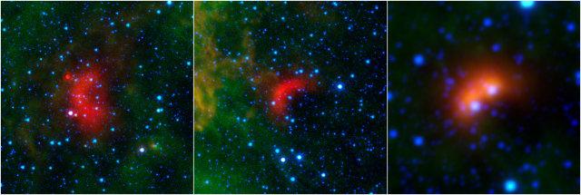 Esempi di stelle con bow shock. A destra un'immagine dal telescopio spaziale WISE, le altre due sono state scattate dal telescopio spaziale Spitzer (Immagine NASA/JPL-Caltech/University of Wyoming)