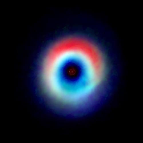 Immagine del sistema HD 142527 generata dalle osservazioni del radiotelescopio ALMA (Immagine Andrea Isella/Rice University; B. Saxton (NRAO/AUI/NSF); ALMA (NRAO/ESO/NAOJ)
