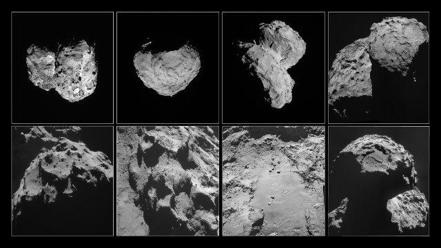 Varie fotografie della cometa 67P/Churyumov-Gerasimenko scattate tra agosto e novembre 2014 (Immagine ESA/Rosetta/NavCam – CC BY-SA IGO 3.0)