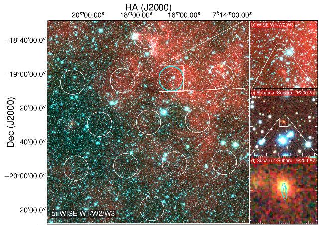 A sinistra, campo di vista dell'osservatorio di Parkes. A destra, due ingrandimenti e in fondo immagine del telescopio Subaru (Immagine cortesia D. Kaplan (UWM), E. F. Keane (SKAO))