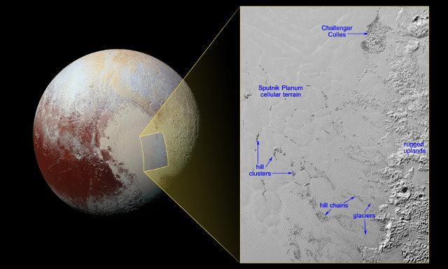 Fotografia di Plutone e dell'area di Sputnik Planum con le sue colline calleggianti (Immagine NASA/JHUAPL/SwRI)