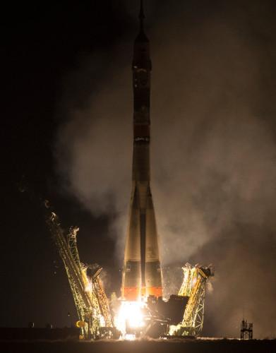 La navicella spaziale navicella spaziale Soyuz TMA-20M al decollo su un razzo Soyuz (Foto NASA/Aubrey Gemignani)