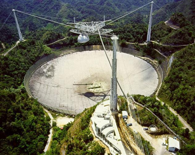 Vista dall'alto del radiotelescopio di Arecibo (Foto H. Schweiker/WIYN and NOAO/AURA/NSF)