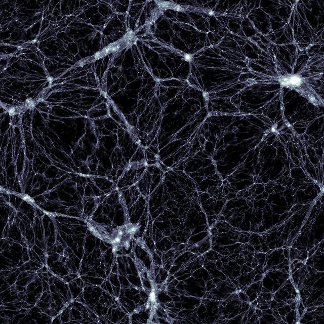 Porzione di spazio generata dalla simulazione Illustris che mostra la distribuzione di materia oscura (Immagine cortesia Markus Haider / Illustris collaboration)