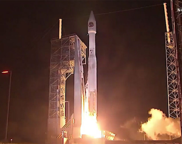 "La navicella spaziale Cygnus ""Rick Husband"" al decollo su un razzo Atlas V (Immagine NASA TV)"