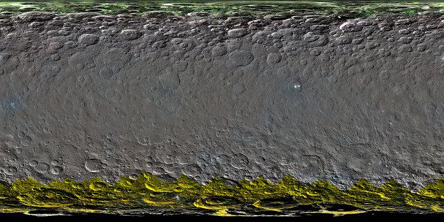 Mappa globale a colori della superficie di Cerere (Immagine NASA/JPL-Caltech/UCLA/MPS/DLR/IDA)
